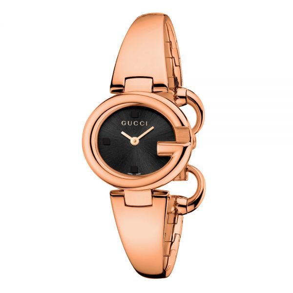 Gucci Ladies Guccissima Rose Gold & Black Watch