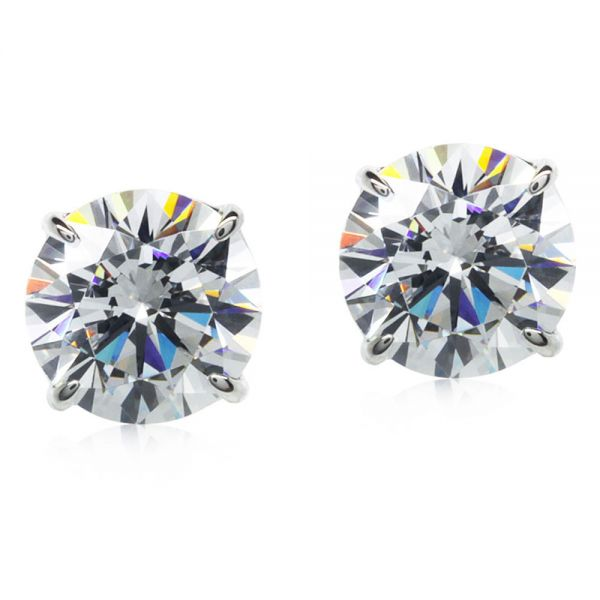 CARAT* London 9k White Gold 1ct Round Brilliant Stud Earrings