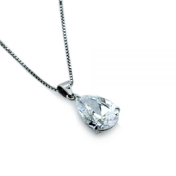 CARAT* London 9k White Gold 1.5ct Pear Drop Pendant
