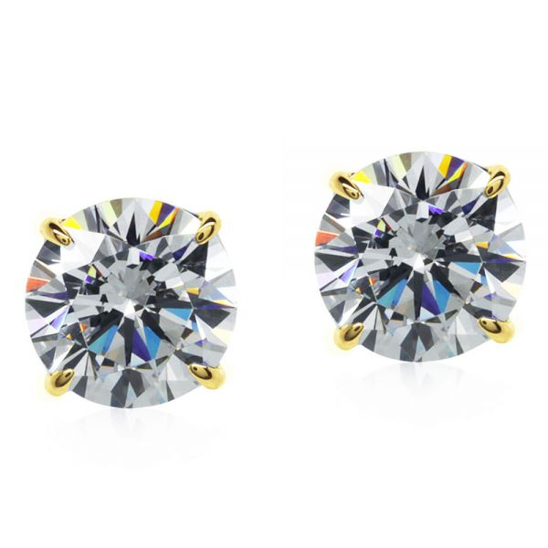 CARAT* London 9k Yellow Gold 1ct Eternal Four Prong Round Studs