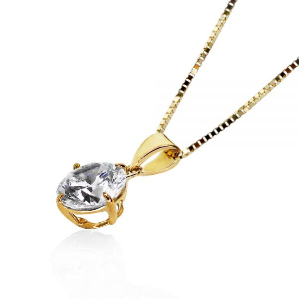 CARAT* London Yellow Gold Plated Round Brilliant Pendant Necklace