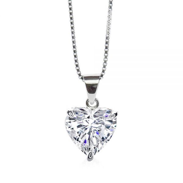 CARAT* London 9k White Gold 1.5ct White Camden Heart Pendant Necklace