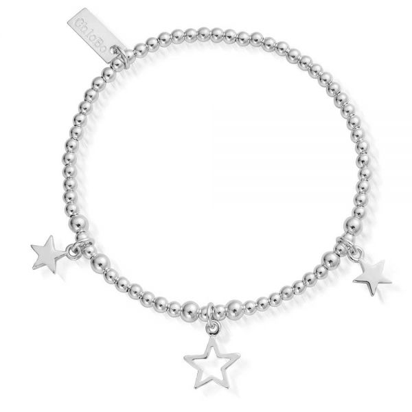 ChloBo Sterling Silver Mayas Light Triple Star Bracelet