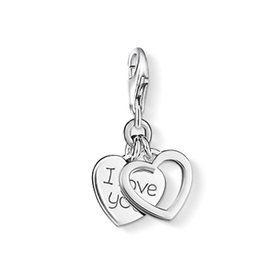 Thomas Sabo Sterling Silver I Love You Double Heart Charm