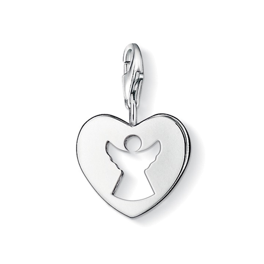 Thomas Sabo Sterling Silver Guardian Angel On Flat Heart Disc Charm