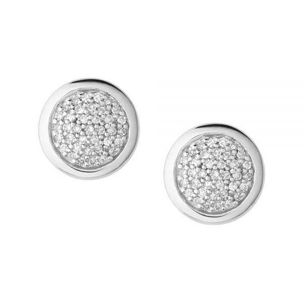 Links of London Diamond Essentials Sterling Silver & Pave Round Stud Earrings