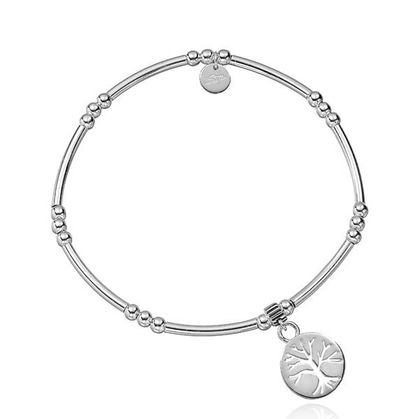 Steff Wildwood Silver Bead Bracelet With Family Tree Of Life Charm