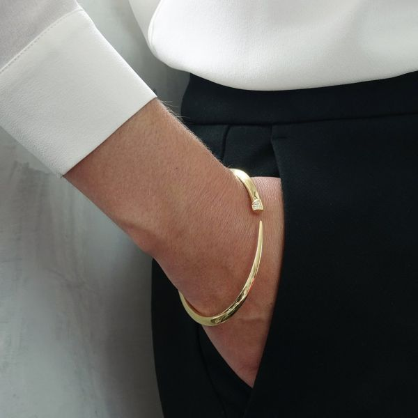 Shaun Leane Yellow Gold Vermeil Diamond Slim Tusk Bracelet