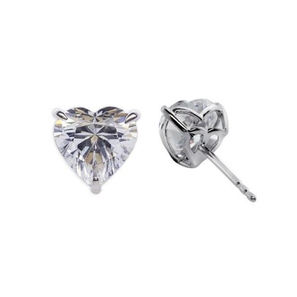 CARAT* London 9k White Gold 1ct White Camden Heart Studs