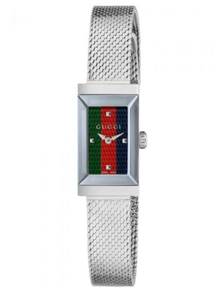 Gucci Ladies G Frame Green, Red & Blue Dial Mesh Watch