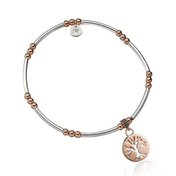 Steff Wildwood Silver & Rose Gold Bead Bracelet With Family Tree Of Life Charm