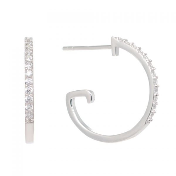 Laura Vann Bonnie Dropper Silver Hoop Earrings