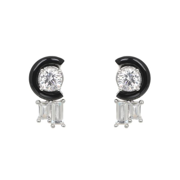 Laura Vann Marion Sterling Silver, White & Black Agate Stud Earrings