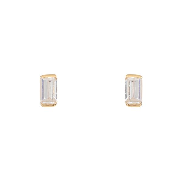 Laura Vann Allegra Baguette Gold Stud Earrings