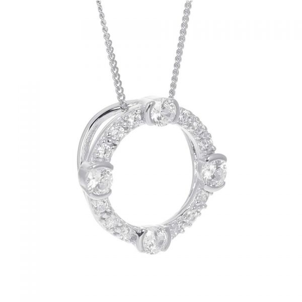 Laura Vann Luna Sterling Silver Circle Necklace