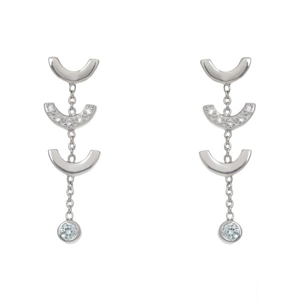 Laura Vann Attina Quartz Silver Drop Earrings