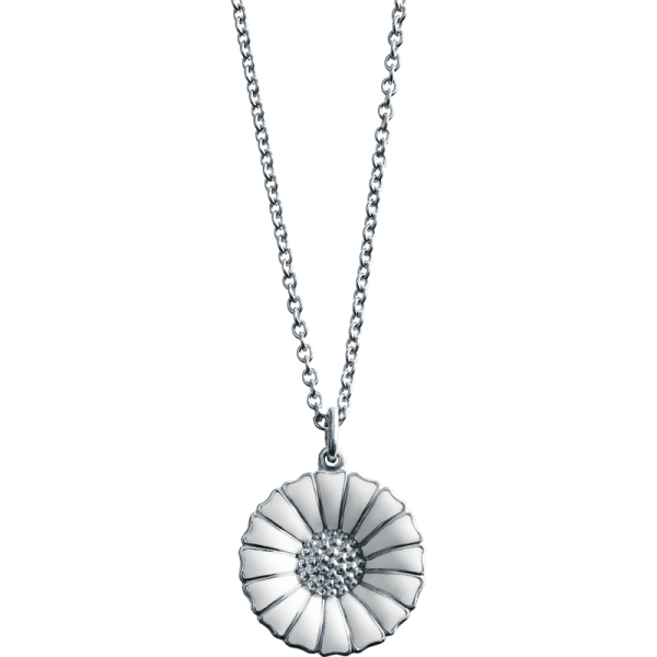 Georg Jensen Rhodinated Silver Daisy Pendant Necklace