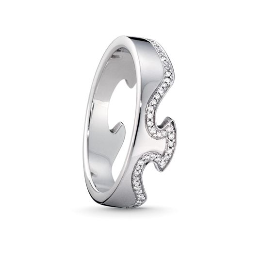 Georg Jensen FUSION End Ring 1371 White Gold with Diamonds 0.19ct, 56