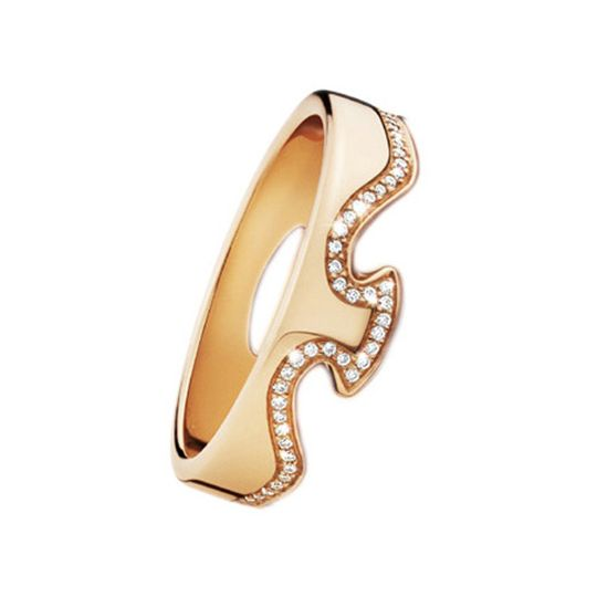 Georg Jensen FUSION End Ring 1371 Rose Gold with Diamonds 0.19ct, 56