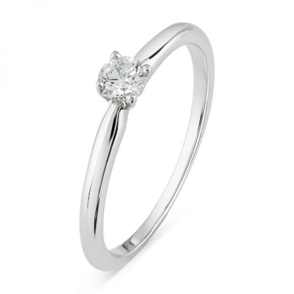 9ct White Gold Engagement Ring with 0.20ct Round Brilliant Diamond
