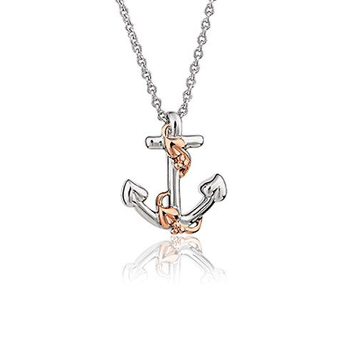 Clogau Hope House Anchor Pendant with Silver Curb Chain