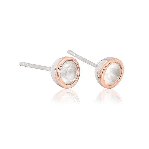 Clogau Sterling Silver and 9ct Gold Moonstone June Birthstone Earrings