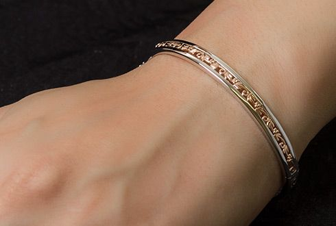 Clogau Tree of Life Bangle with Sterling Silver & 9ct Rose Gold