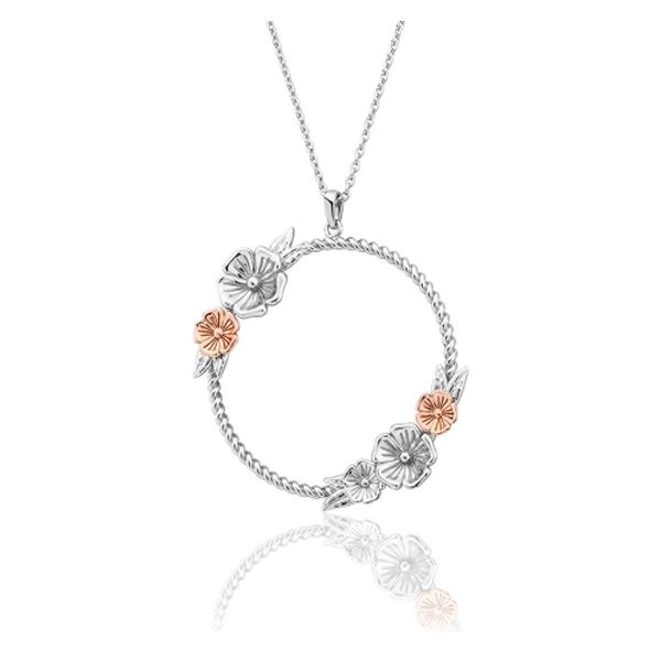 Clogau Sterling Silver and Rose Gold Blossom Circle Pendant