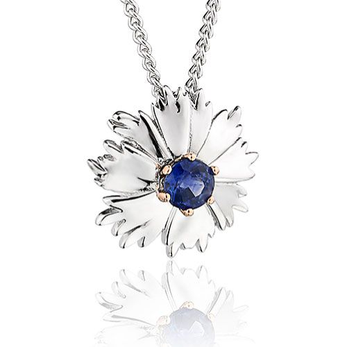 Clogau Corn Flower Blue Sapphire Pendant with Silver Chain