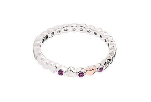 Clogau Affinity Pink Sapphire Heart Stacking Ring