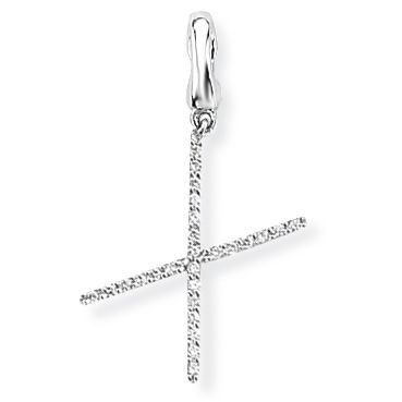 674c1d7b3a586d Steffans 9ct White Gold Diamond 'X' Initial Pendant Necklace