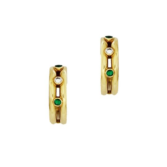 Theo Fennell 18ct Yellow Gold & Emerald Hoop Earrings