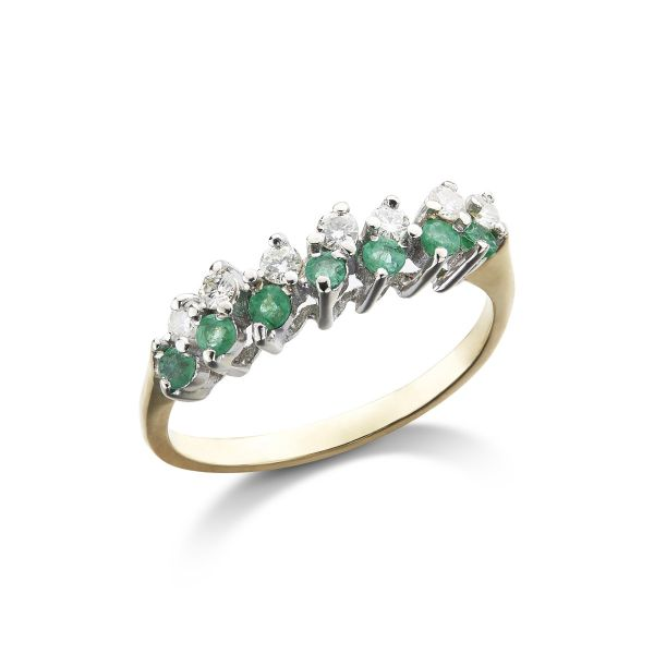 18ct White And Yellow Gold Diamond And Emerald Ring