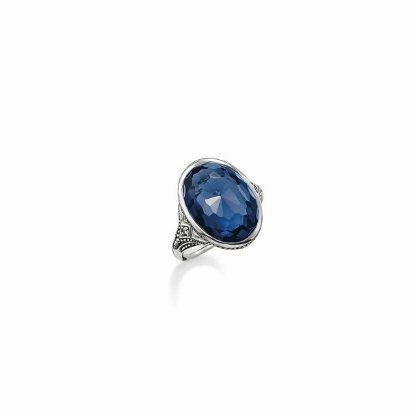 Thomas Sabo Silver & Dark Blue Synthetic Corundum Oval Ring - Size 54