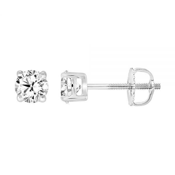 Steffans 18ct White Gold Solitaire Diamond Stud Earrings (0.40ct)