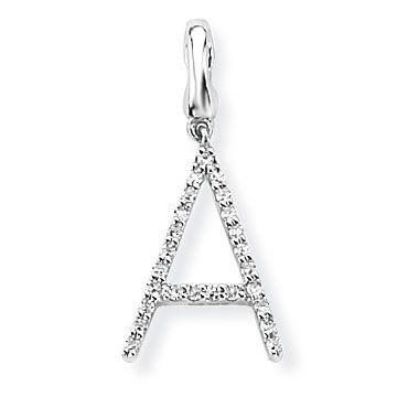 Steffans 9ct White Gold Diamond 'A' Initial Pendant Necklace