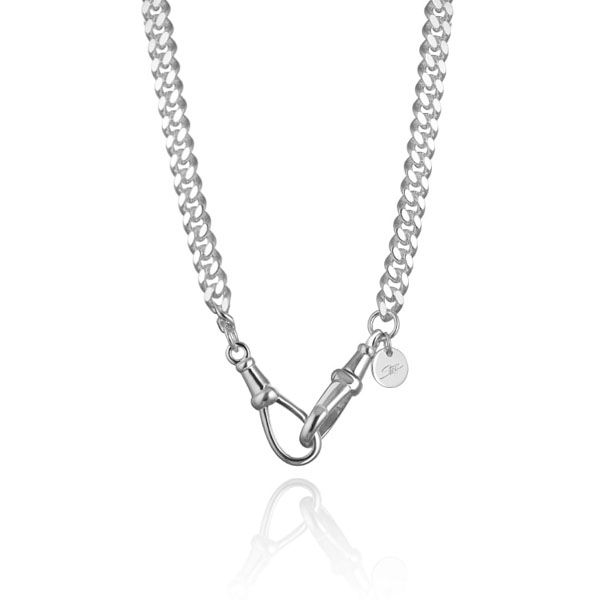 Steff Silver Mix & Match Curb Chain Necklace With Albert Clasps