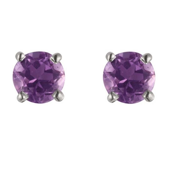 9ct White Gold February Amethyst Stud Earrings WGE1107AM