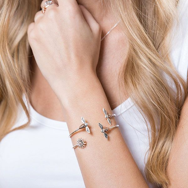 Steff Bloomsbury Silver & Rose Gold Plated Bee Bangle