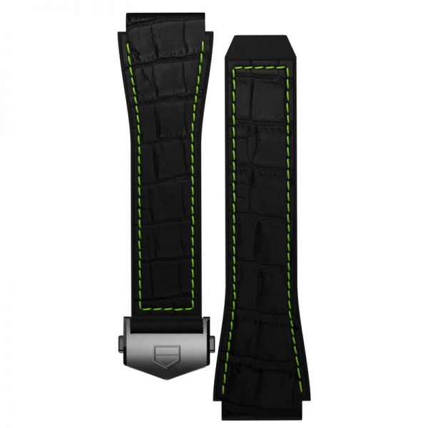 TAG Heuer Connected Strap - Black Rubber Strap with Lime Green Stitching