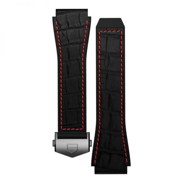 TAG Heuer Connected Strap - Black Rubber with Red Stitching