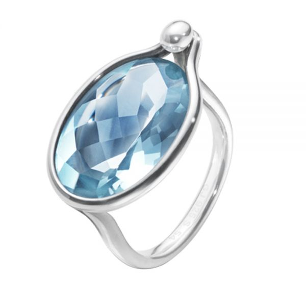 Georg Jensen Sterling Silver Savannah Ring with Blue Topaz