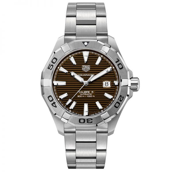 Tag Heuer Mens Calibre 5 Brown Dial Aquaracer Watch