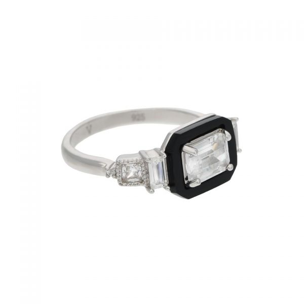 Laura Vann Carine Sterling Silver, White & Black Agate Ring