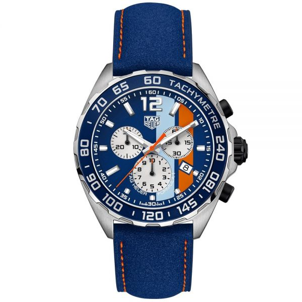 TAG Heuer Gulf Special Edition Chronograph Formula 1 Watch with Metal Bracelet (Includes Original Leather Strap)