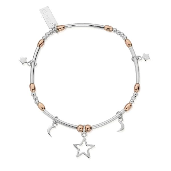 ChloBo Exclusive Limited Edition Silver & Rose Gold Plated Mini Noodle Moon & Stars Bracelet