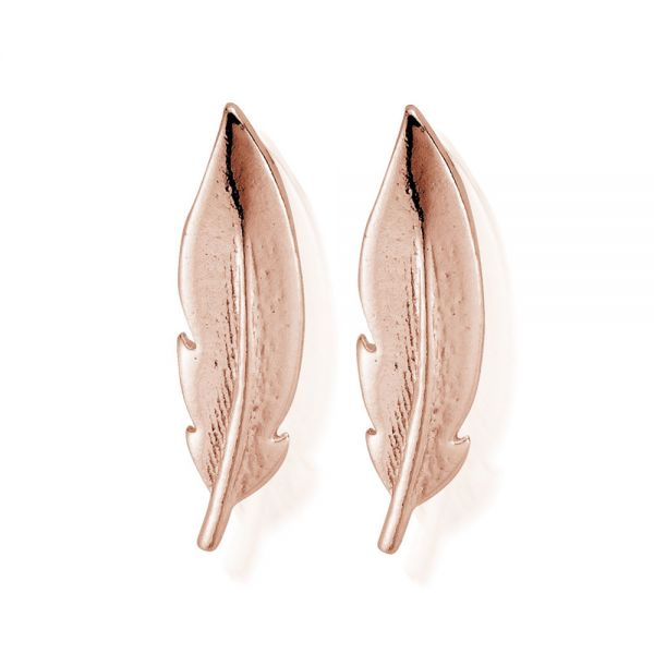 ChloBo Rose Plated Sterling Silver Cuff Feather Earrings (REST729)
