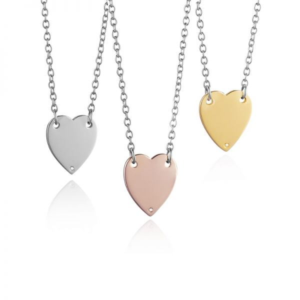 Steff Silver & Diamond Love Heart Necklaces