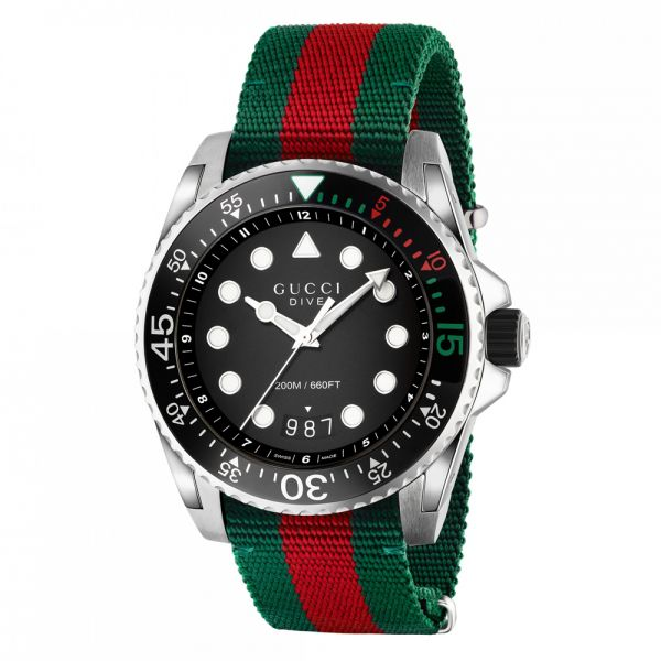 Gucci Men's Black Dial Dive Watch with Green & Red Fabric Strap