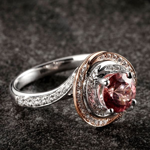 18ct White & Rose Gold 4 Claw Rubelite Ring with Diamond Set Shoulders